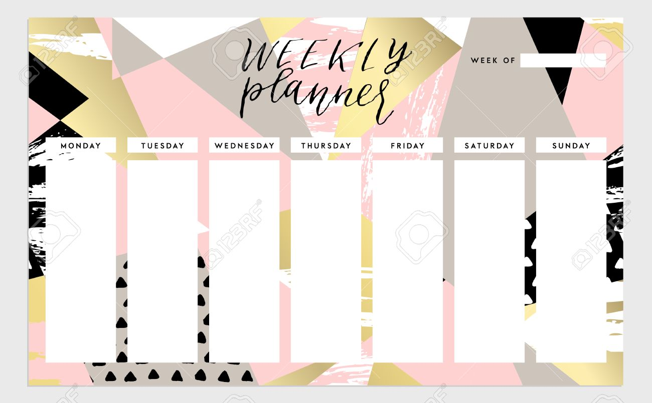 photo about Cute Weekly Planners titled Weekly planner template. Organizer and routine. isolated instance