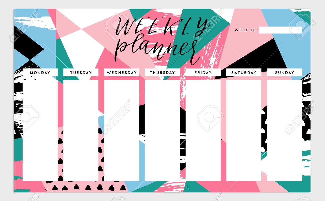 Weekly Planner Template. Organizer And Schedule. Isolated ...