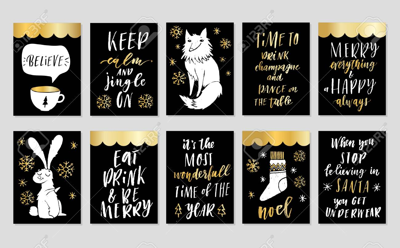 collection of 10 stylish black gold and white new year and christmas gift cards set