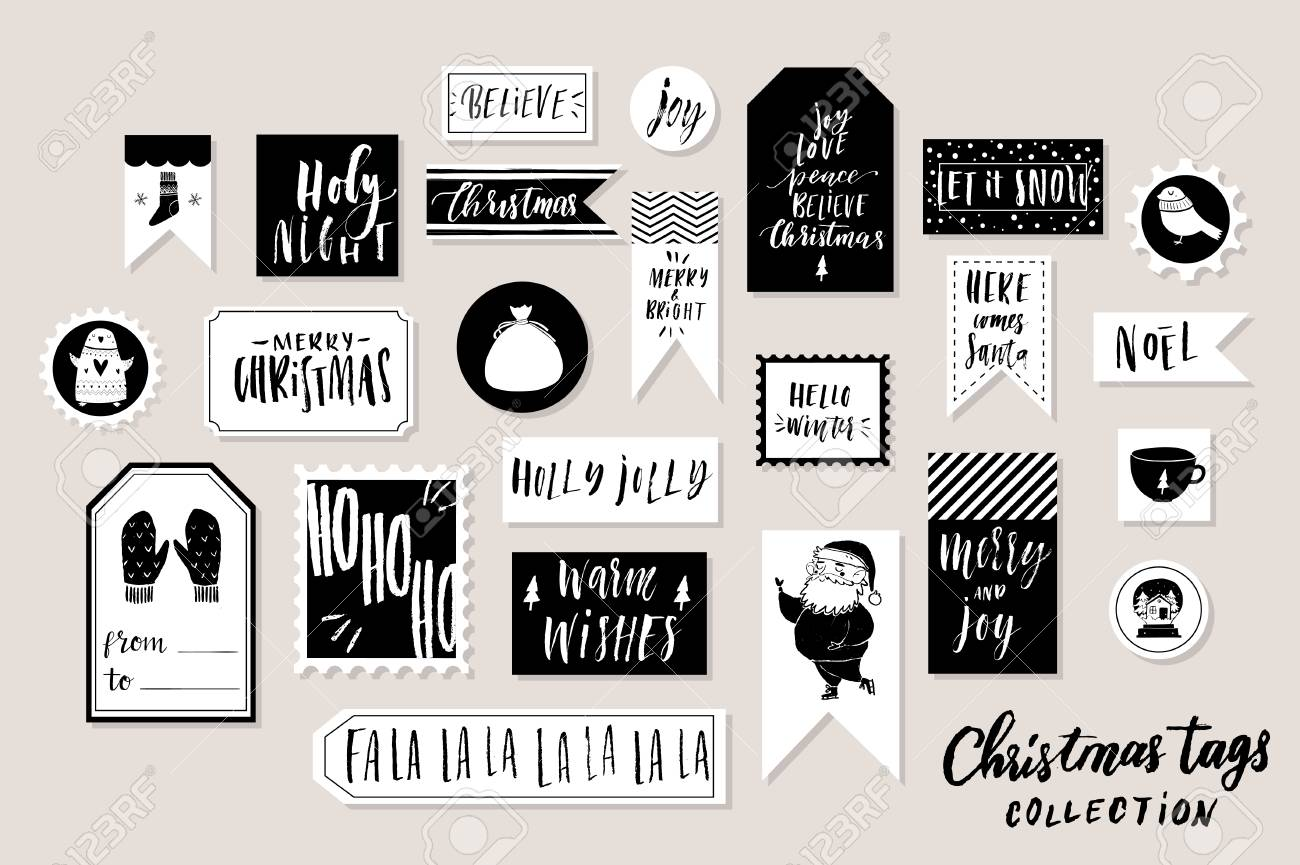 picture regarding Printable Christmas Tags Black and White named Range of classy black white Fresh new 12 months and xmas reward..