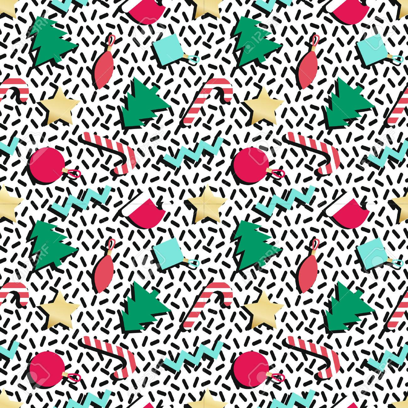 90s Christmas Background.Simple Winter Holiday Geometrical Seamless Pattern In Retro Comic