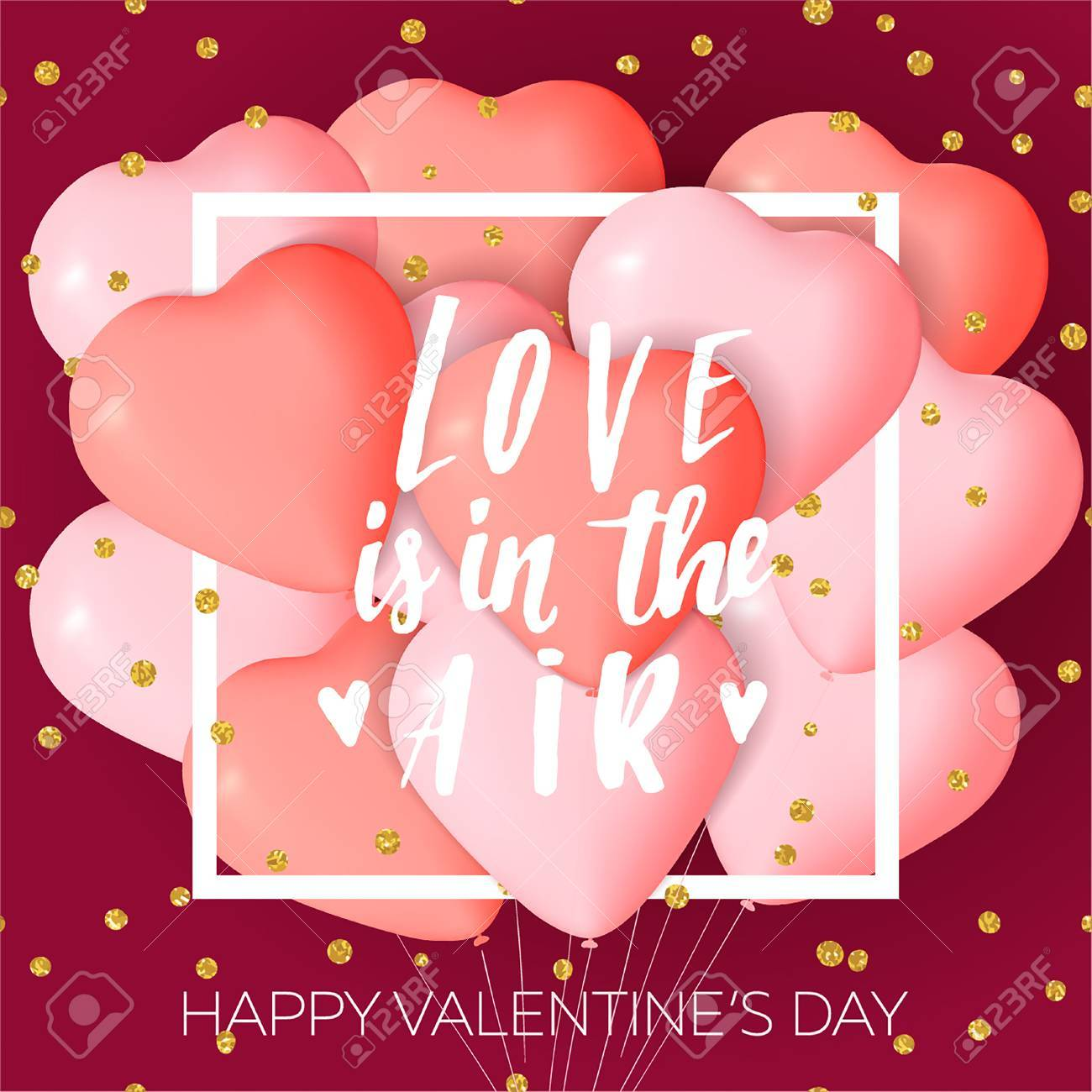 Happy Valentines Day Card Template With Cute And Fancy Pink Red Heart Balloons Lettering