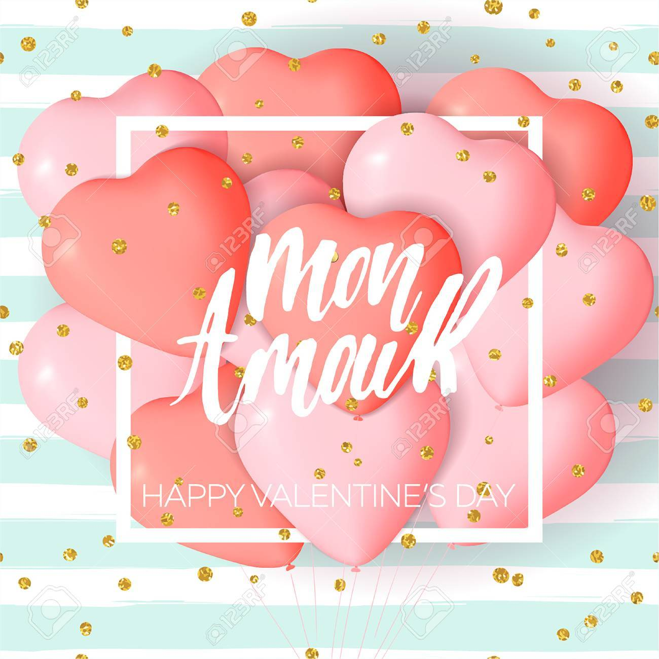 happy valentines day card template with cute and fancy pink red heart balloons with lettering