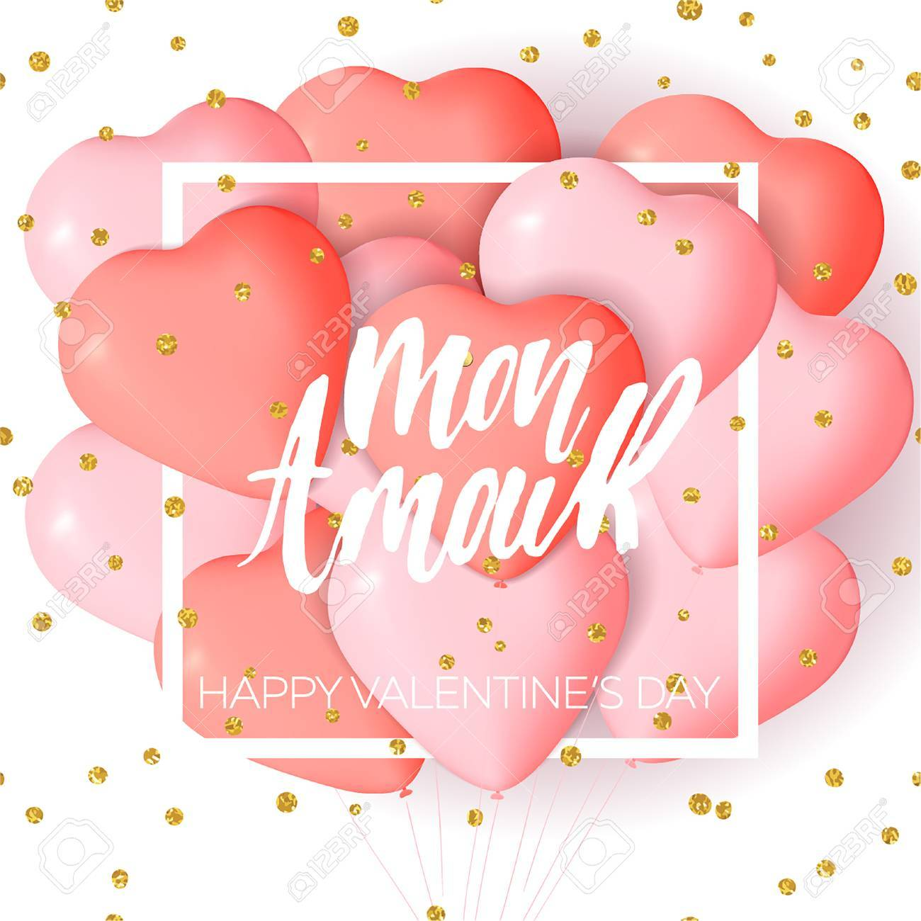 Happy valentines day card template with cute and fancy pink happy valentines day card template with cute and fancy pink red heart balloons with lettering m4hsunfo