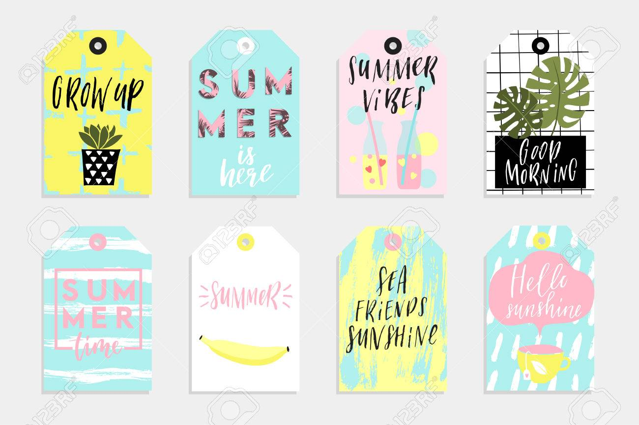 Summer Set Of Sale And Gift Tags Labels With Fun Elements Hand Royalty Free Cliparts Vectors And Stock Illustration Image 78650557