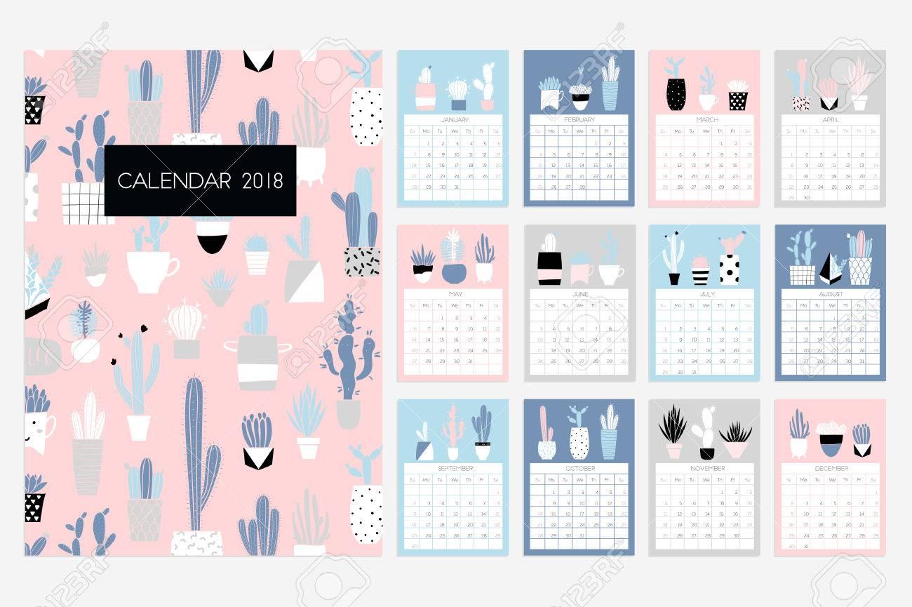 Calendar 2018 Stock Vector Fun And Cute Calendar With Hand