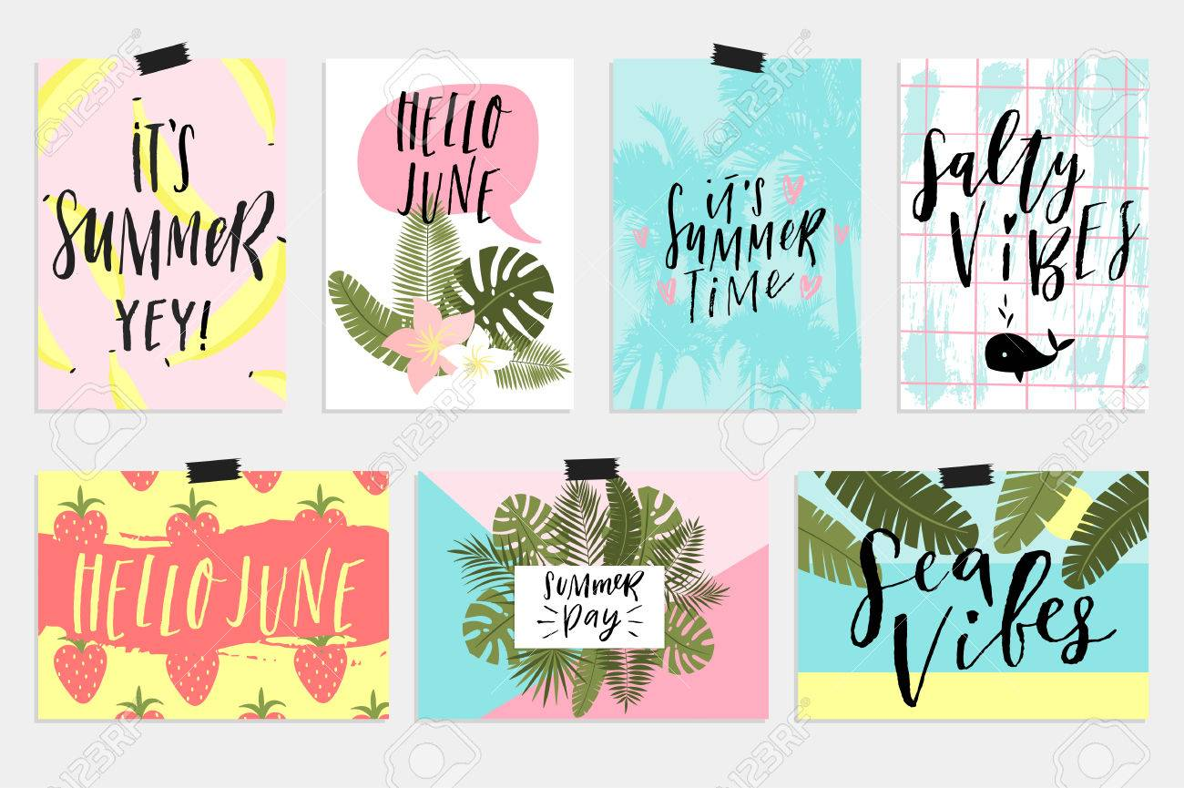 Summer June Greeting Cards And Posters Collection Fun Elements Royalty Free Cliparts Vectors And Stock Illustration Image 78669496