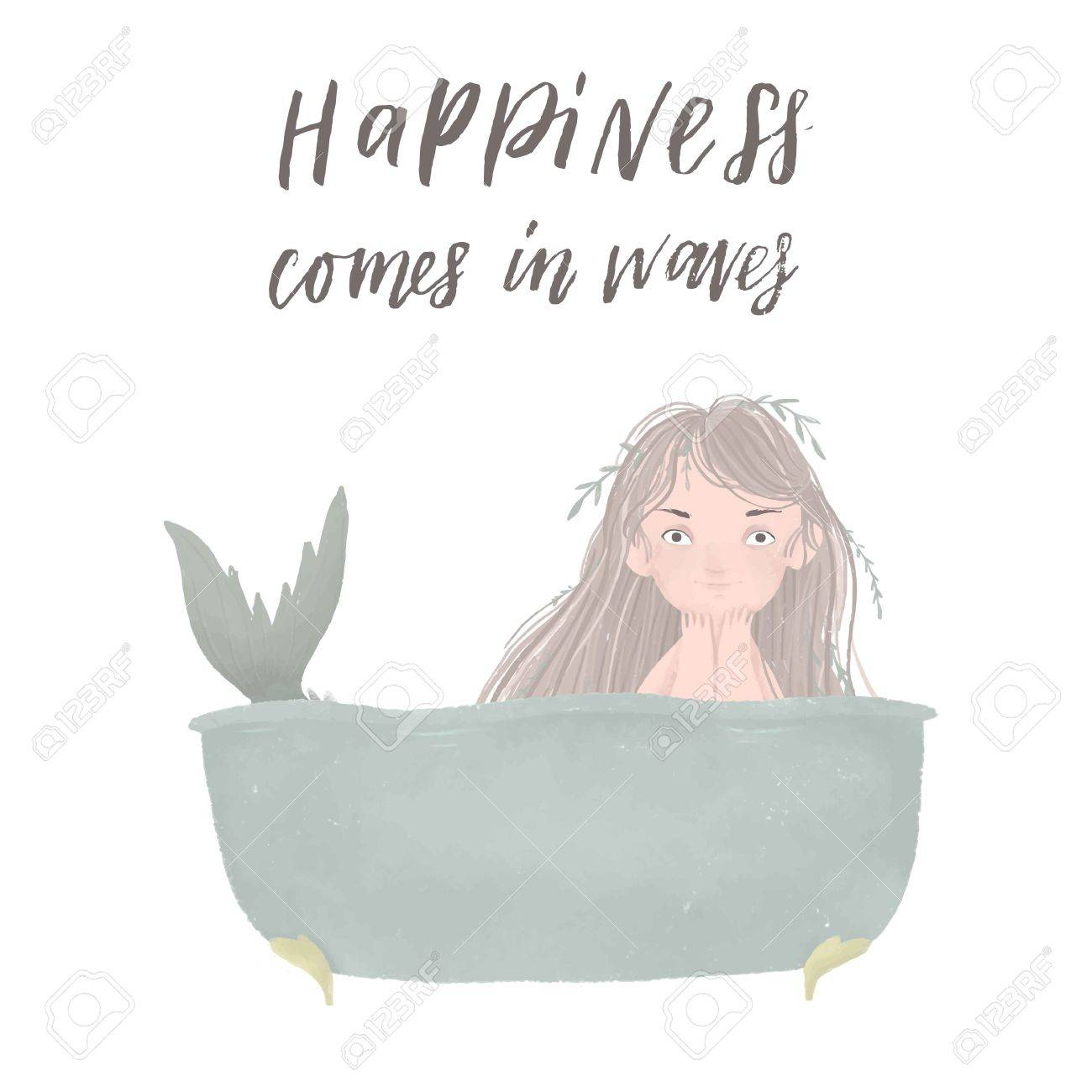 Cute postcard with little mermaid and quote. Vector stock illustration