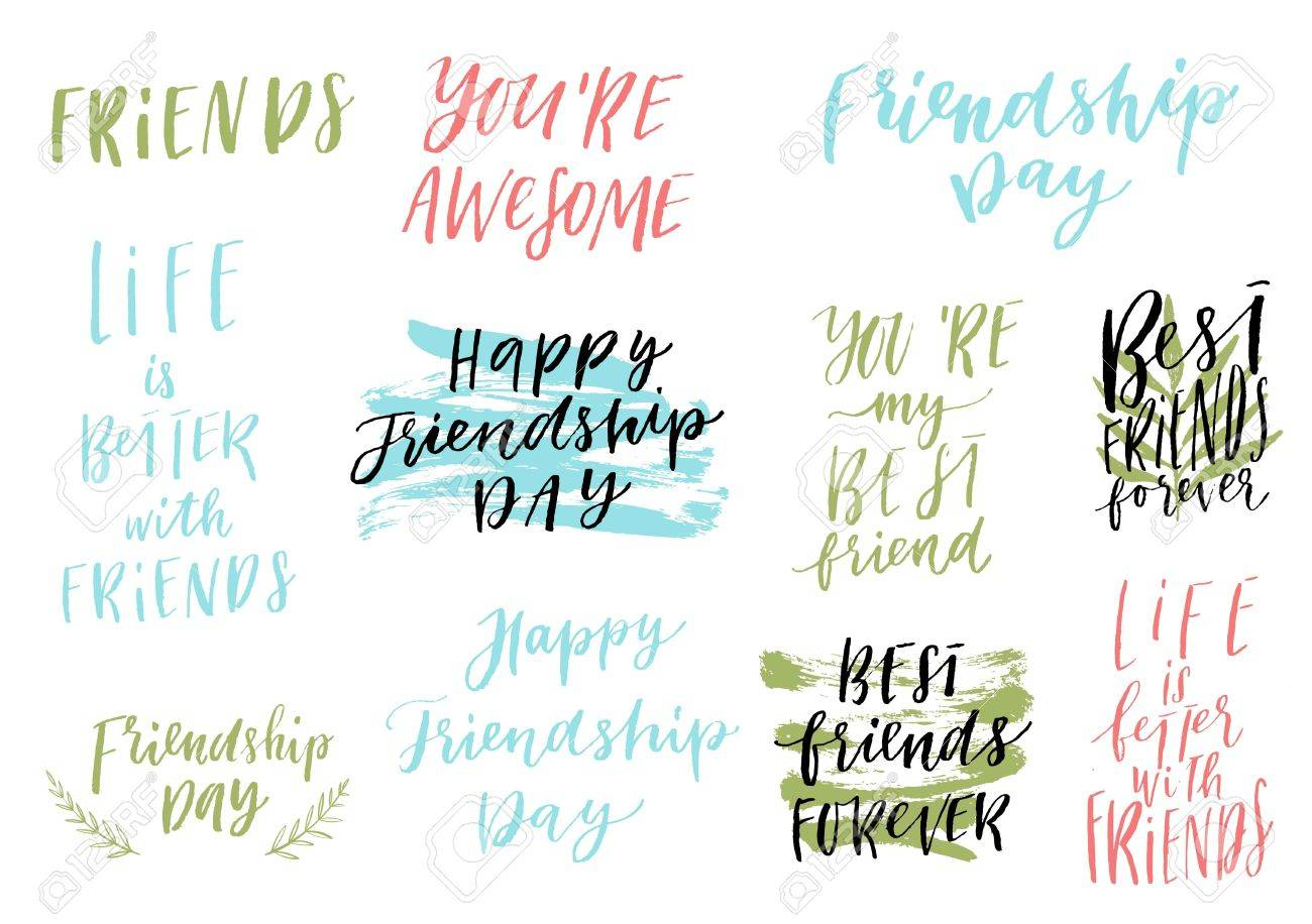 happy friendship day vector lettering colorful design set