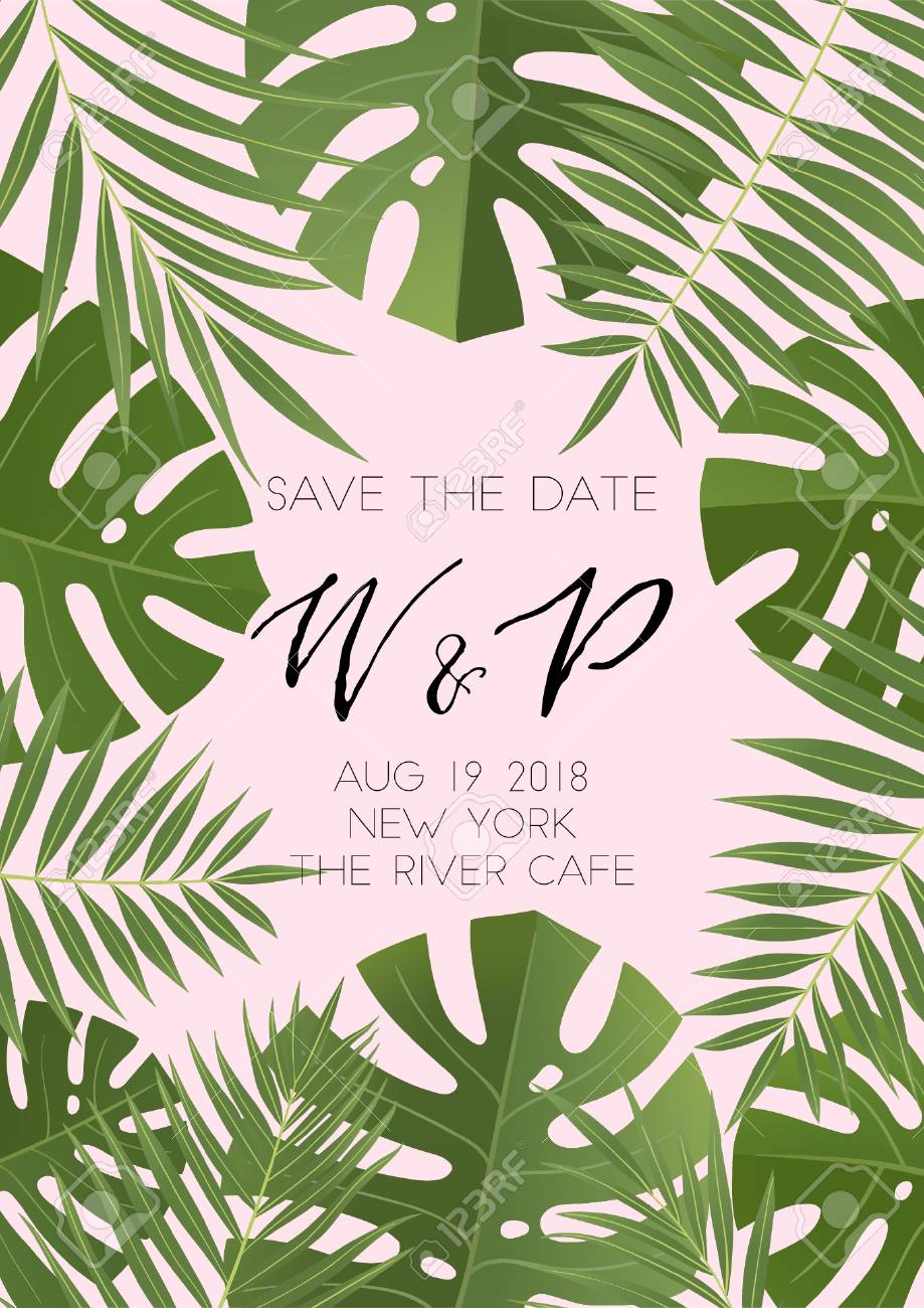 Ummer wedding invitation design with tropical leaves hand drawn ummer wedding invitation design with tropical leaves hand drawn lettering and textures also great stopboris Images