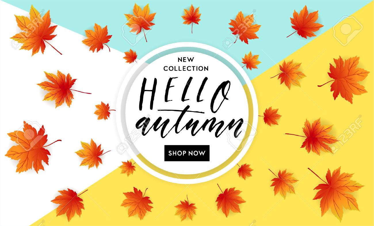 autumn sale flyer template with lettering bright fall leaves