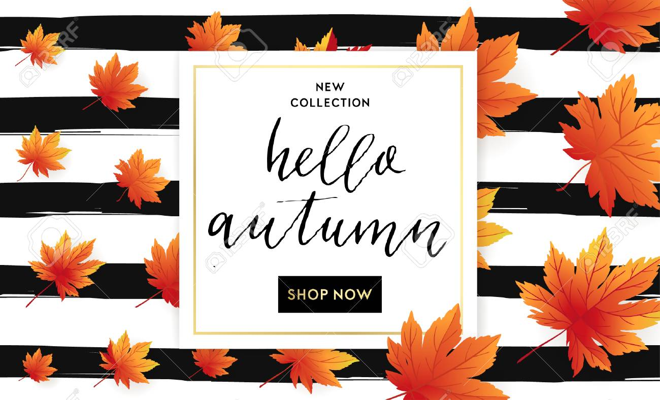 Autumn Sale Flyer Template With Lettering On Striped Background