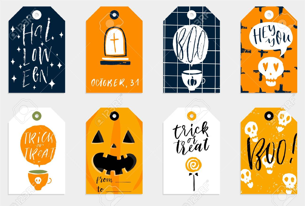 photograph relating to Printable Halloween Tags referred to as Established of 8 halloween present tags. Lovely and daunting label templates..
