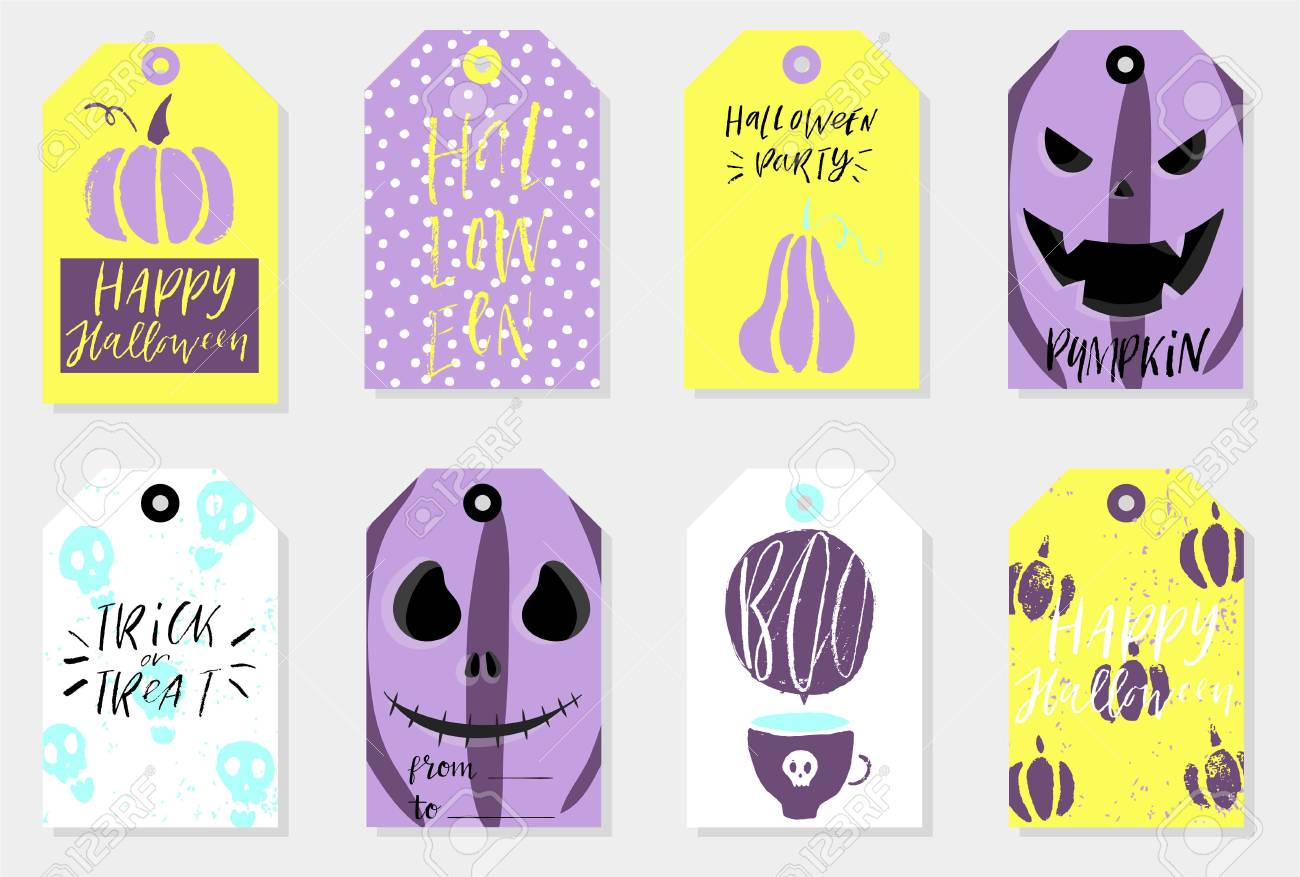 image about Cute Gift Tags Printable identified as Mounted of 8 halloween reward tags. Adorable and daunting label templates..