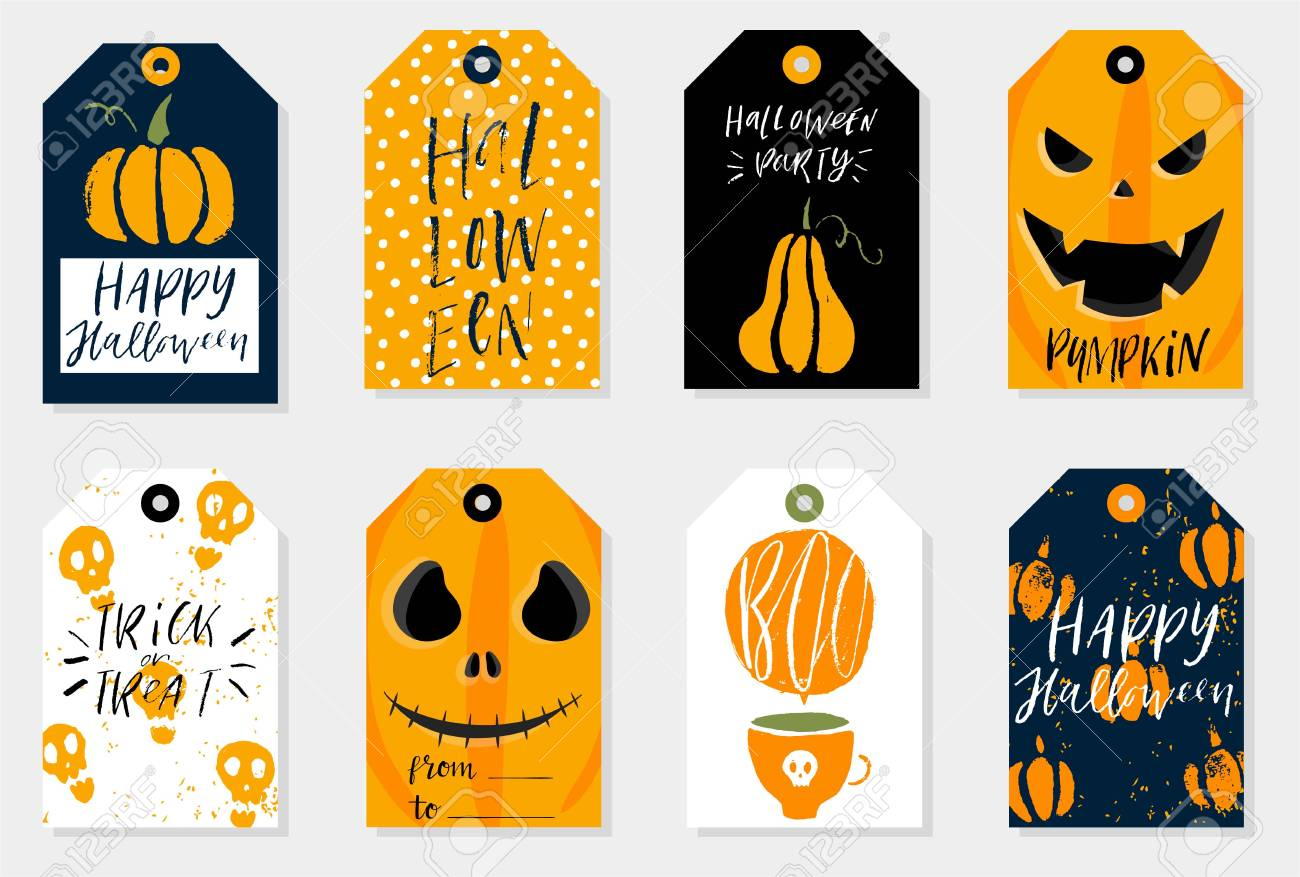 Set of 8 halloween gift tags. Cute and scary label templates for 31 october.  sc 1 st  123RF.com & Set Of 8 Halloween Gift Tags. Cute And Scary Label Templates ...