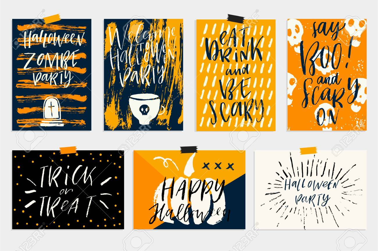Vector set of halloween holidays hand drawn invitation or greeting vector vector set of halloween holidays hand drawn invitation or greeting card with handwritten calligraphy greetings words and phrases m4hsunfo