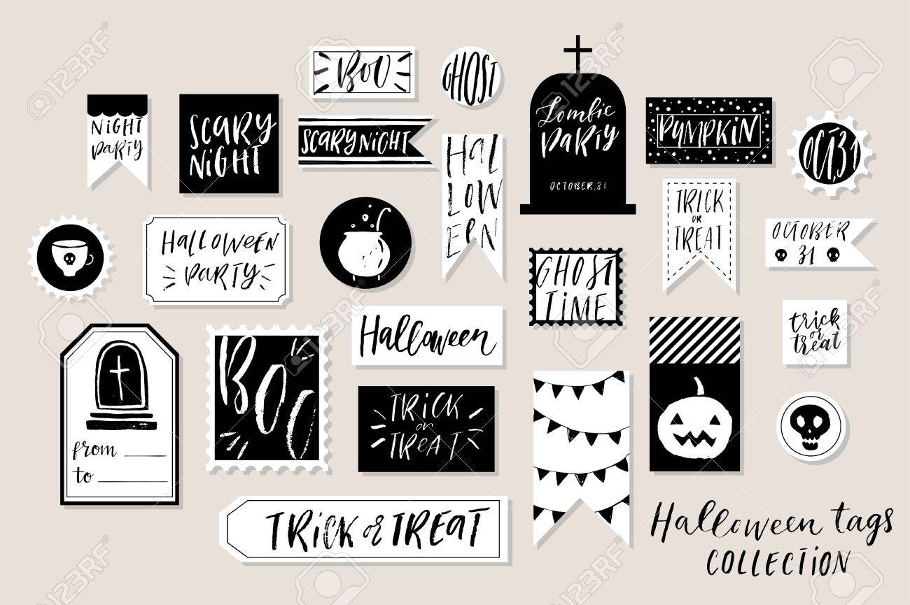 image about Printable Halloween Tags referred to as Summary black and white textured coloured Halloweens printable..