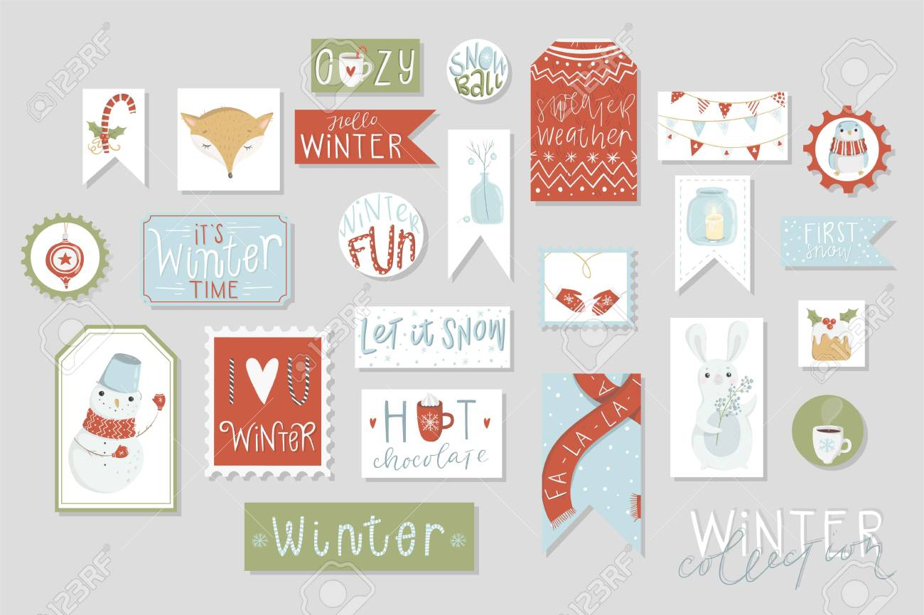 photograph regarding Cute Gift Tags Printable named Wintertime range of playing cards and reward tags preset, lovely hand drawn..