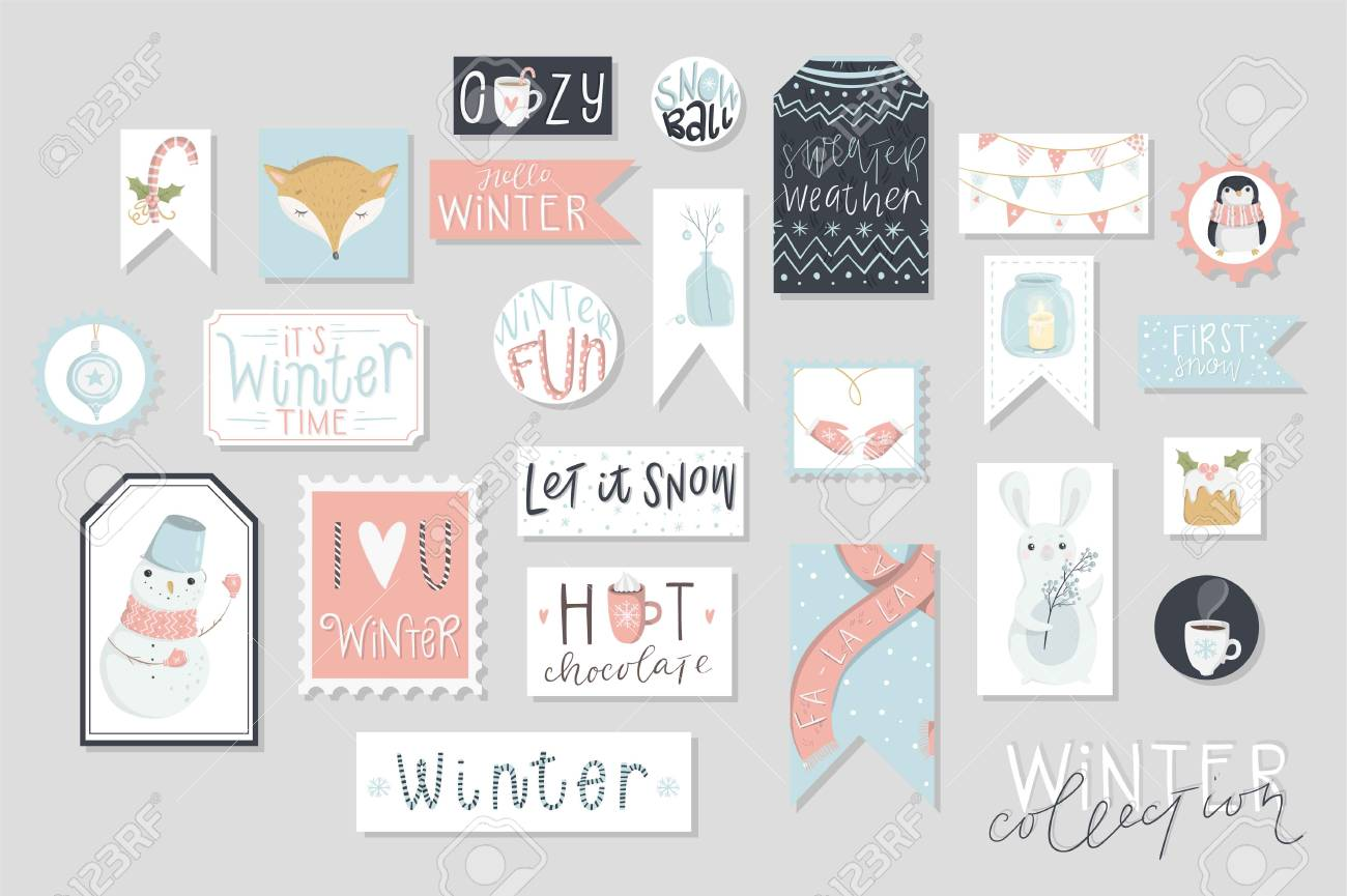 photo regarding Printable Kraft Tags identify Wintertime assortment of playing cards and present tags preset, adorable hand drawn..