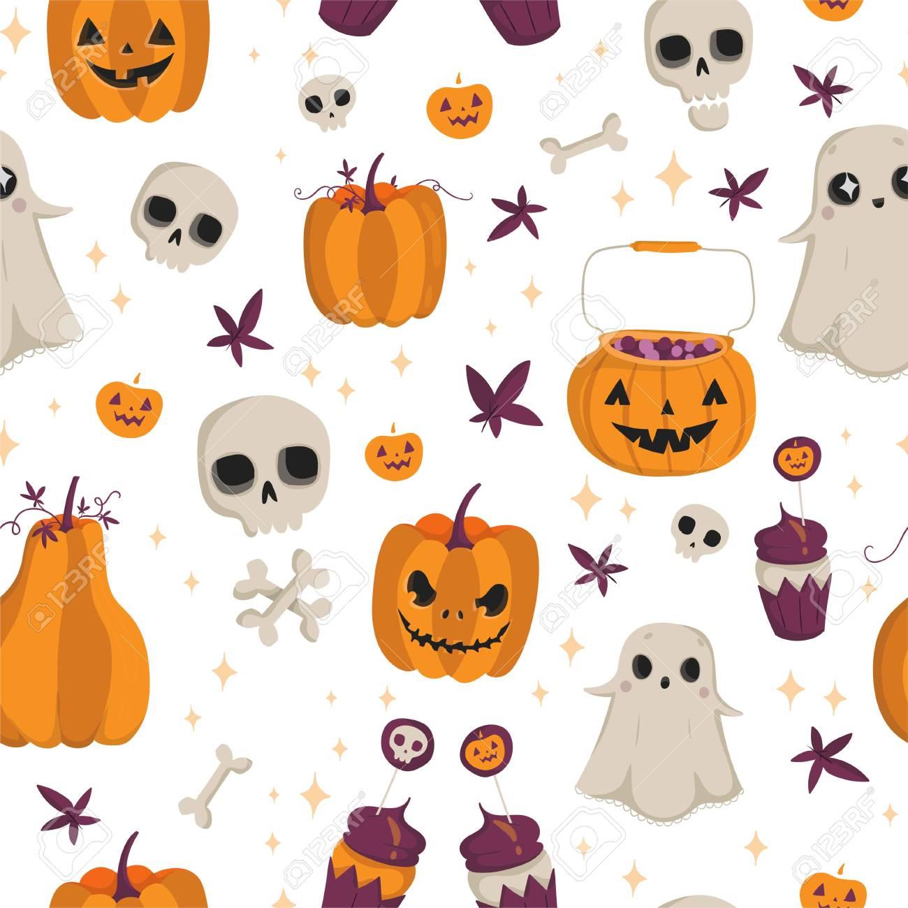 Modèle Sans Couture De Vecteur Pour Halloween Citrouille Fantôme Crâne Et Autres éléments Motif De Dessin Animé Lumineux Pour Halloween