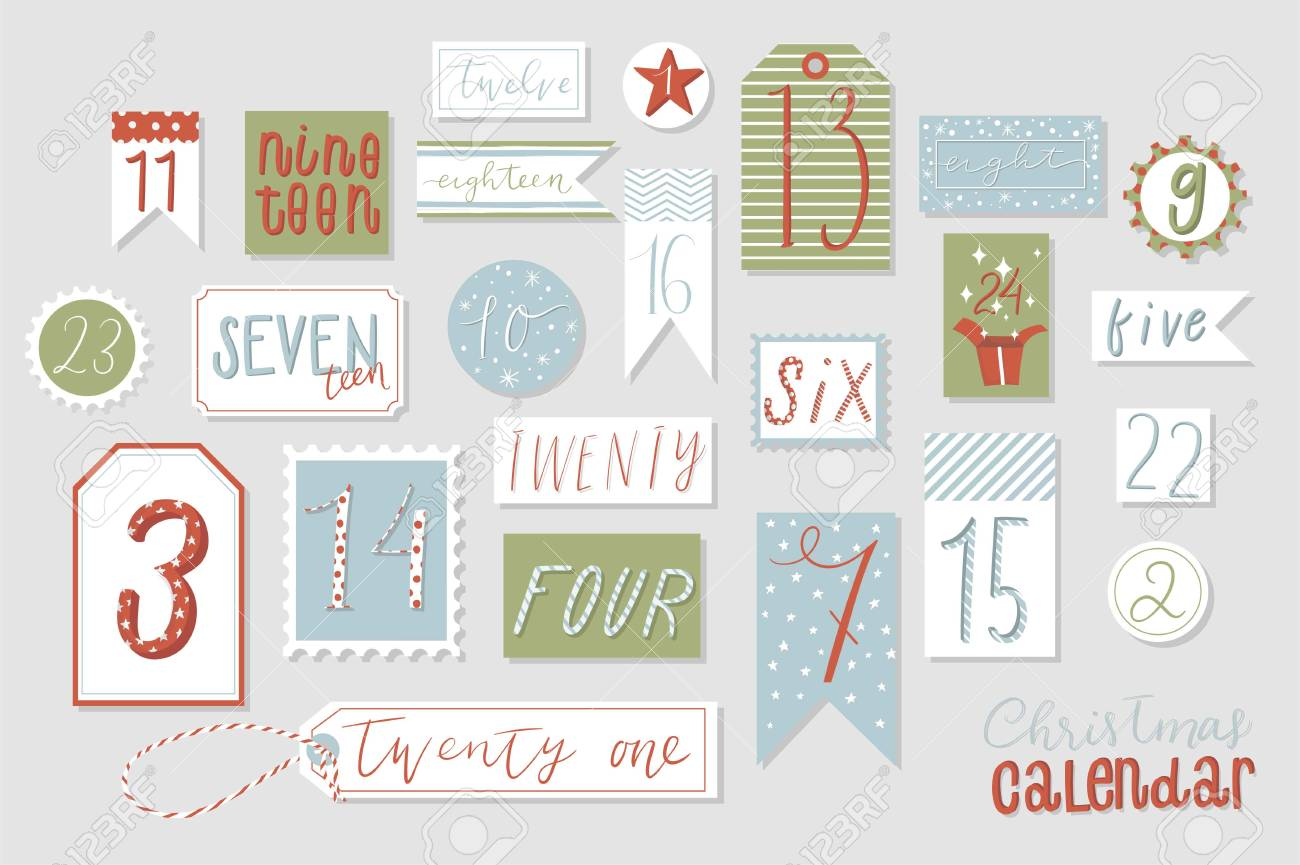 photograph relating to Countdown Printable known as Xmas arrival calendar, lovable hand drawn layout. 20 4..