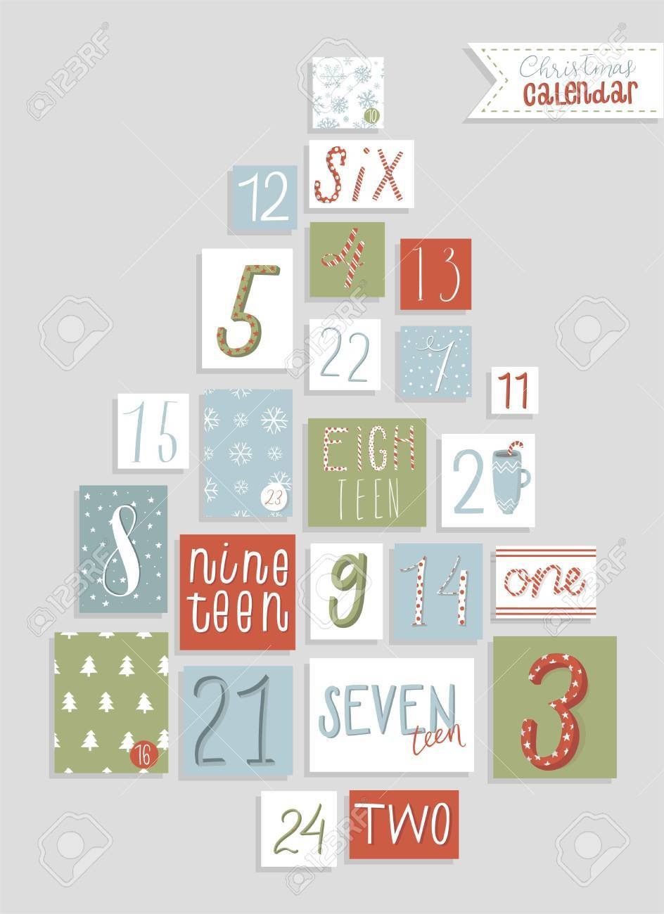 photo regarding Countdown Printable identified as Xmas arrival calendar, adorable hand drawn design and style. 20 4..