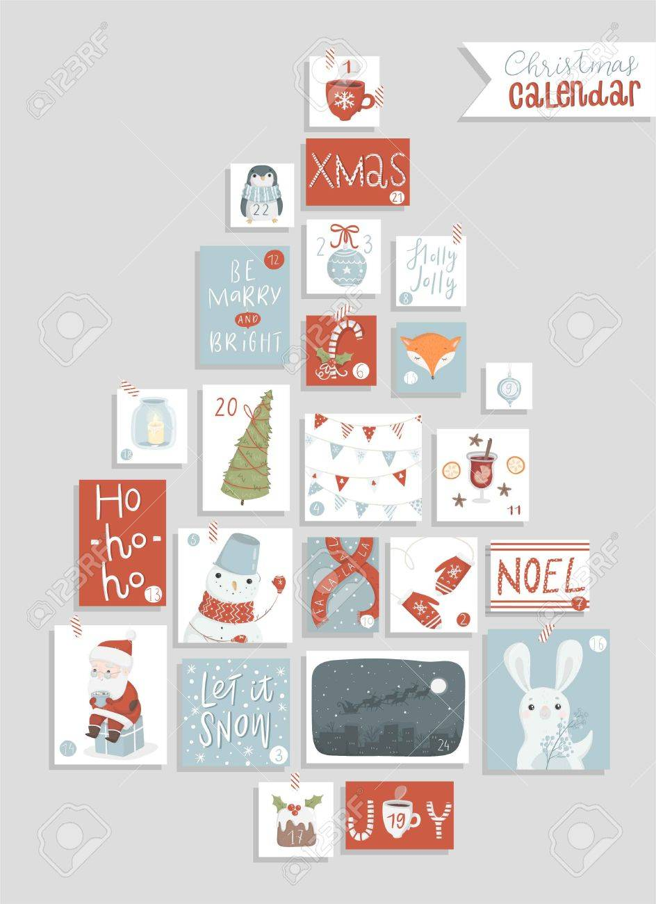 graphic regarding Printable Christmas Calendar identify Xmas introduction calendar, lovable hand drawn layout. 20 4..