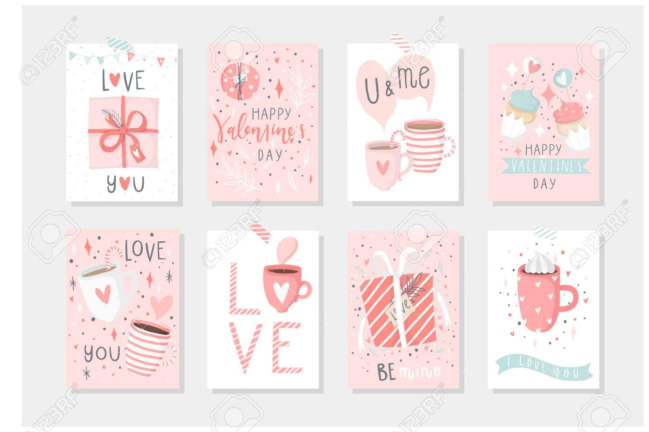 Set Of 8 Cute Ready To Use Gift Romantic Postcards With Penguins Royalty Free Cliparts Vectors And Stock Illustration Image 91472413