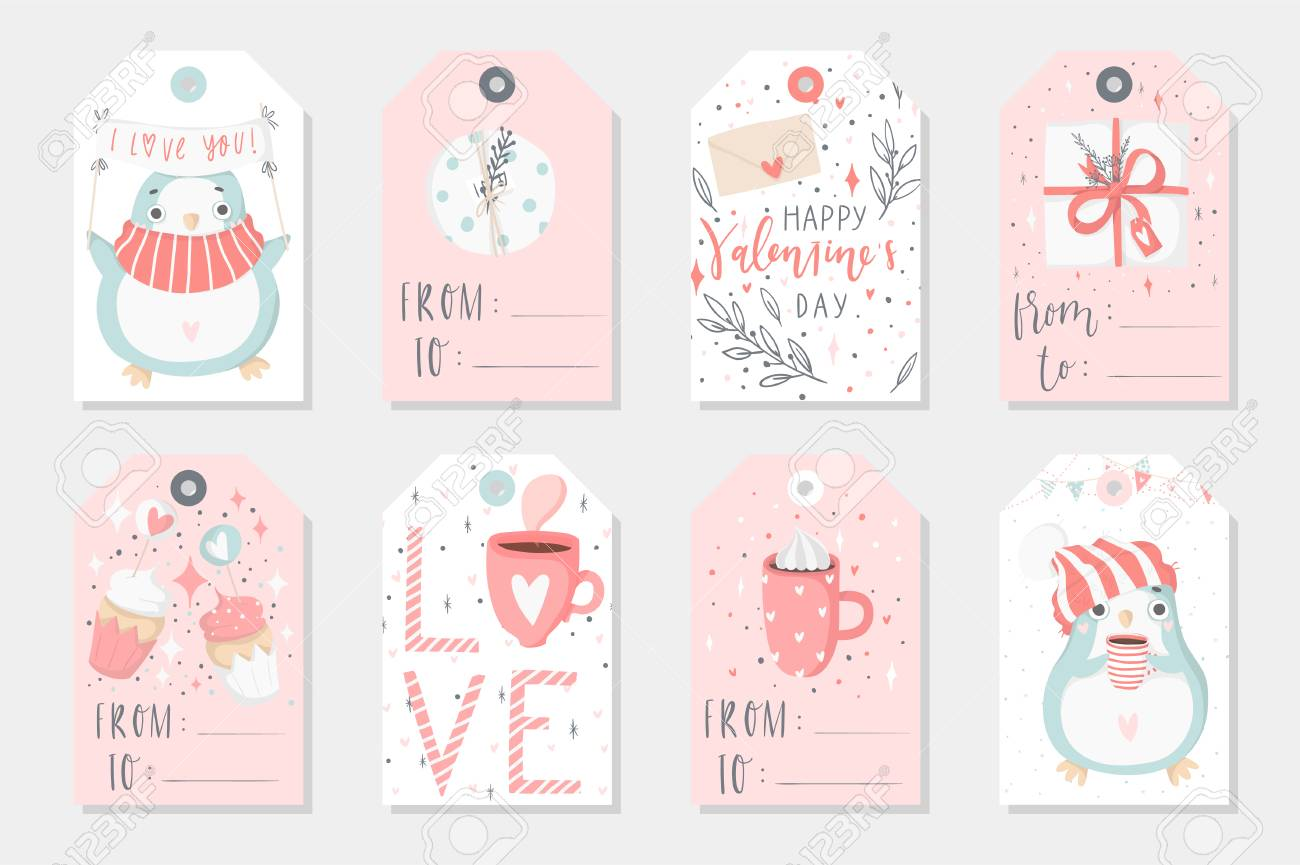 photo about Cute Gift Tags Printable called Established of 8 lovable organized-in the direction of-employ reward tags with penguins. Presents, hearts,..