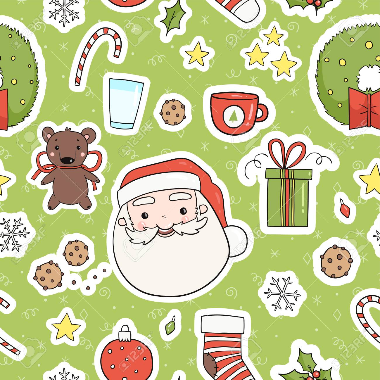 Cute Christmas Party.80s Christmas Party Seamless Pattern Cute Cozy And Bright Winter