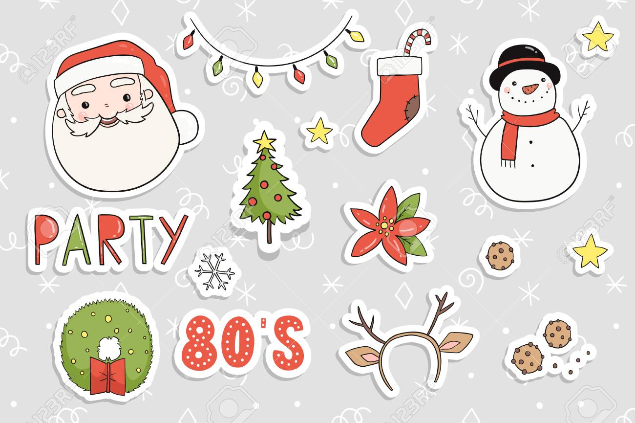 Cute Christmas Party.80s Christmas Party Sticker Set Cute Cozy And Bright Winter