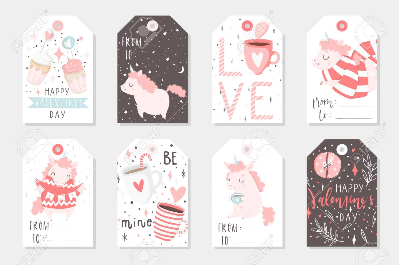 image regarding Cute Gift Tags Printable identify Fastened of 8 adorable geared up-towards-seek the services of present tags with unicorns. Items, hearts,..