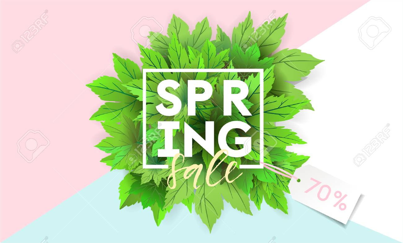 Spring Sale Flyer Template With Lettering. Bright Green Leaves ...
