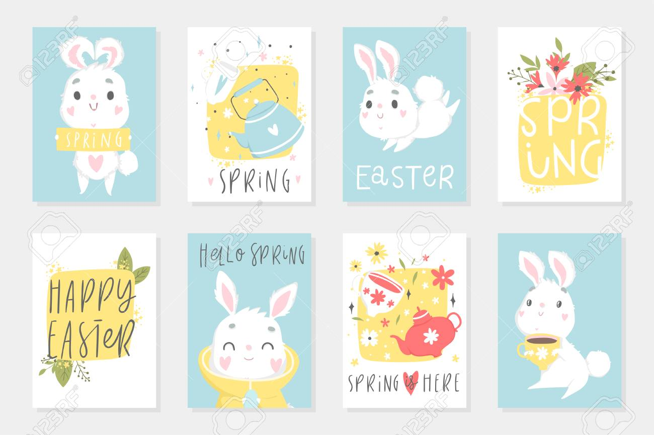 Set of easter cards with cute cartoon characters and type design set of easter cards with cute cartoon characters and type design easter greetings with bunny m4hsunfo