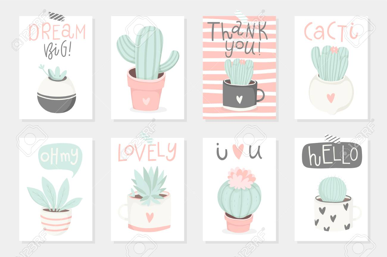 Set Of 8 Cute Ready To Use Gift Romantic Postcards With Succulents Royalty Free Cliparts Vectors And Stock Illustration Image 96155462