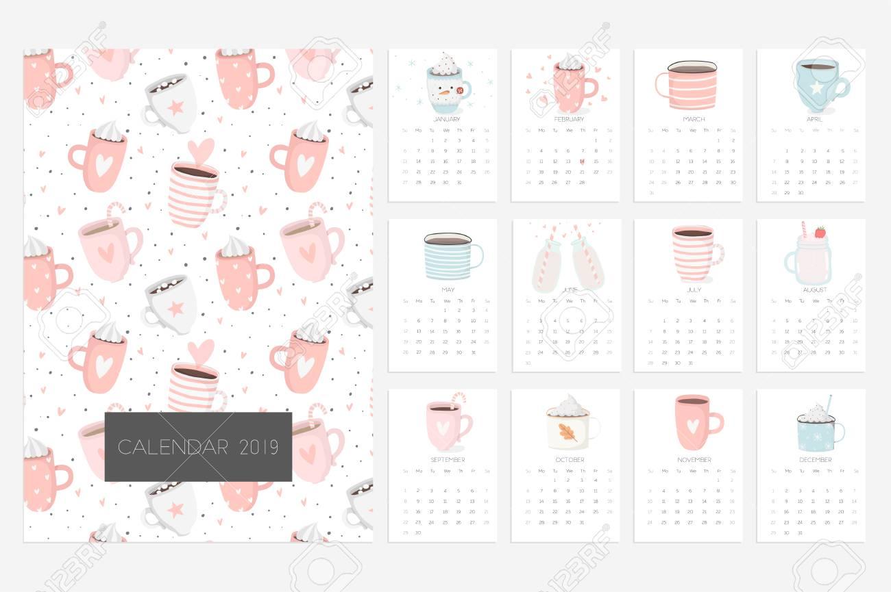 Fun 2019 Calendar Calendar 2019. Stock Vector. Fun And Cute Calendar With Cute
