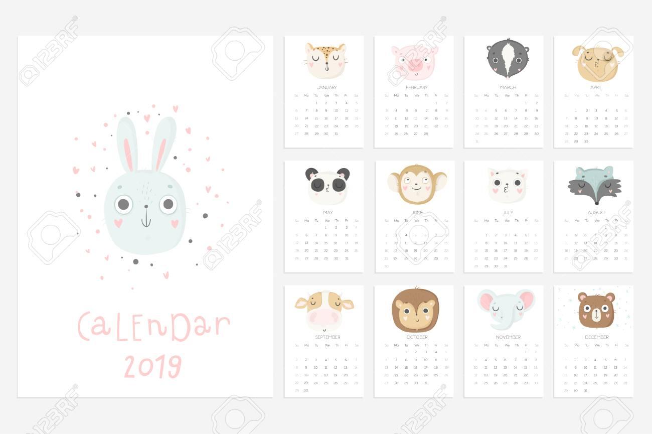 Fun Calendars 2019 Calendar 2019. Stock Vector. Fun And Cute Calendar With Hand