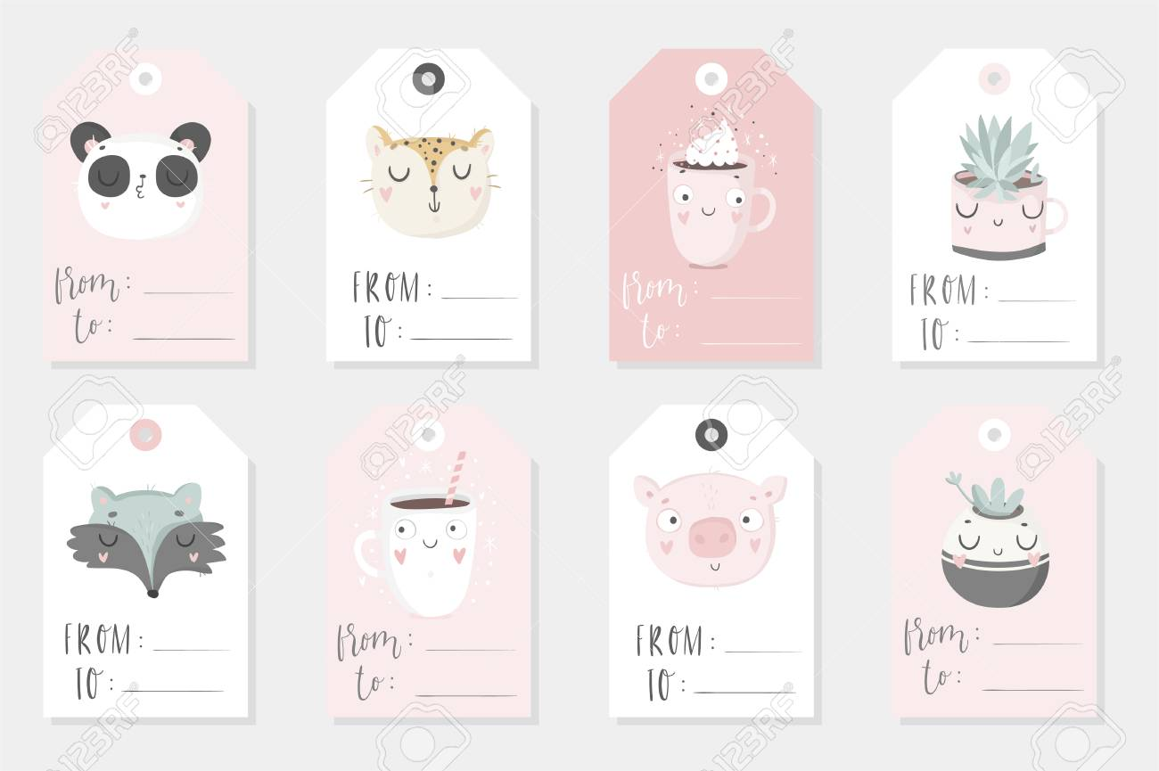 image about Cute Gift Tags Printable named Assortment of 8 adorable childish geared up-in the direction of-employ reward tags. Fastened..