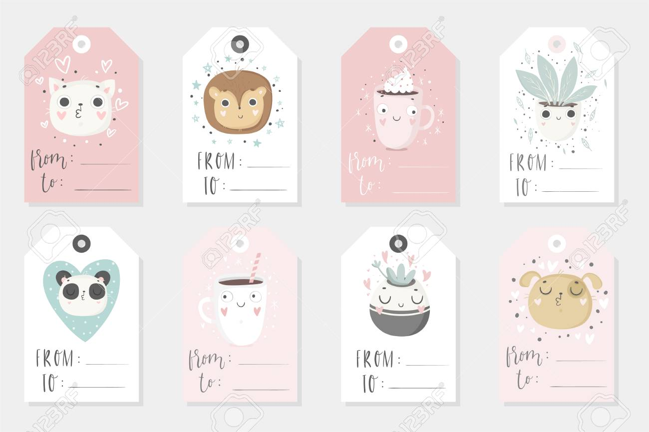 picture regarding Cute Gift Tags Printable called Variety of 8 lovely childish geared up-toward-seek the services of present tags. Mounted..