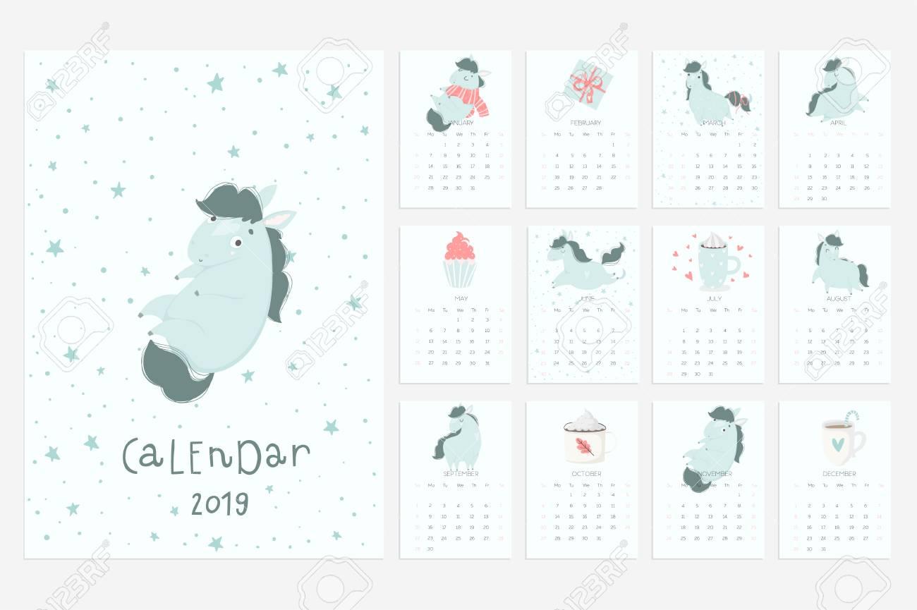 Fun 2019 Calendar Calendar 2019. Fun And Cute Calendar With Hand Drawn Cute Blue