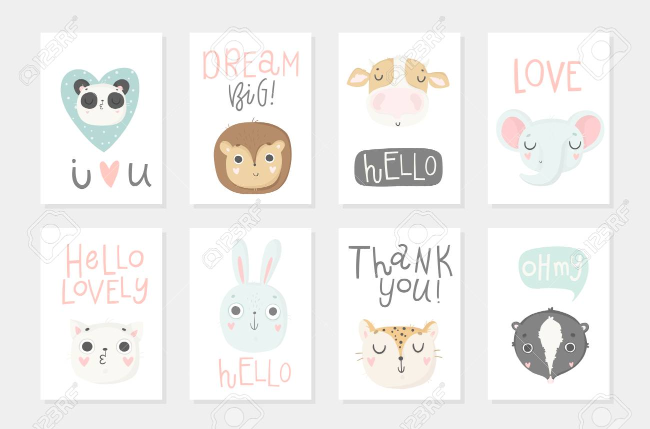 Collection Of 8 Baby Shower Posters Cards With Cute Animals