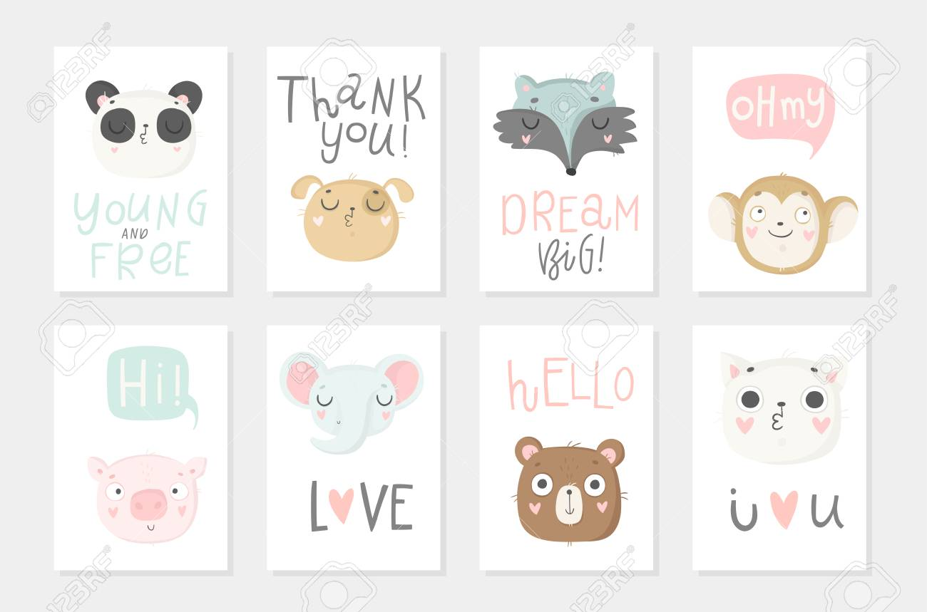 Collection of 8 baby shower posters. Cards with cute animals and hand drawn lettering on white background, pastel colors. Wedding, save the date, baby shower, bridal, birthday. Vector - 97624333