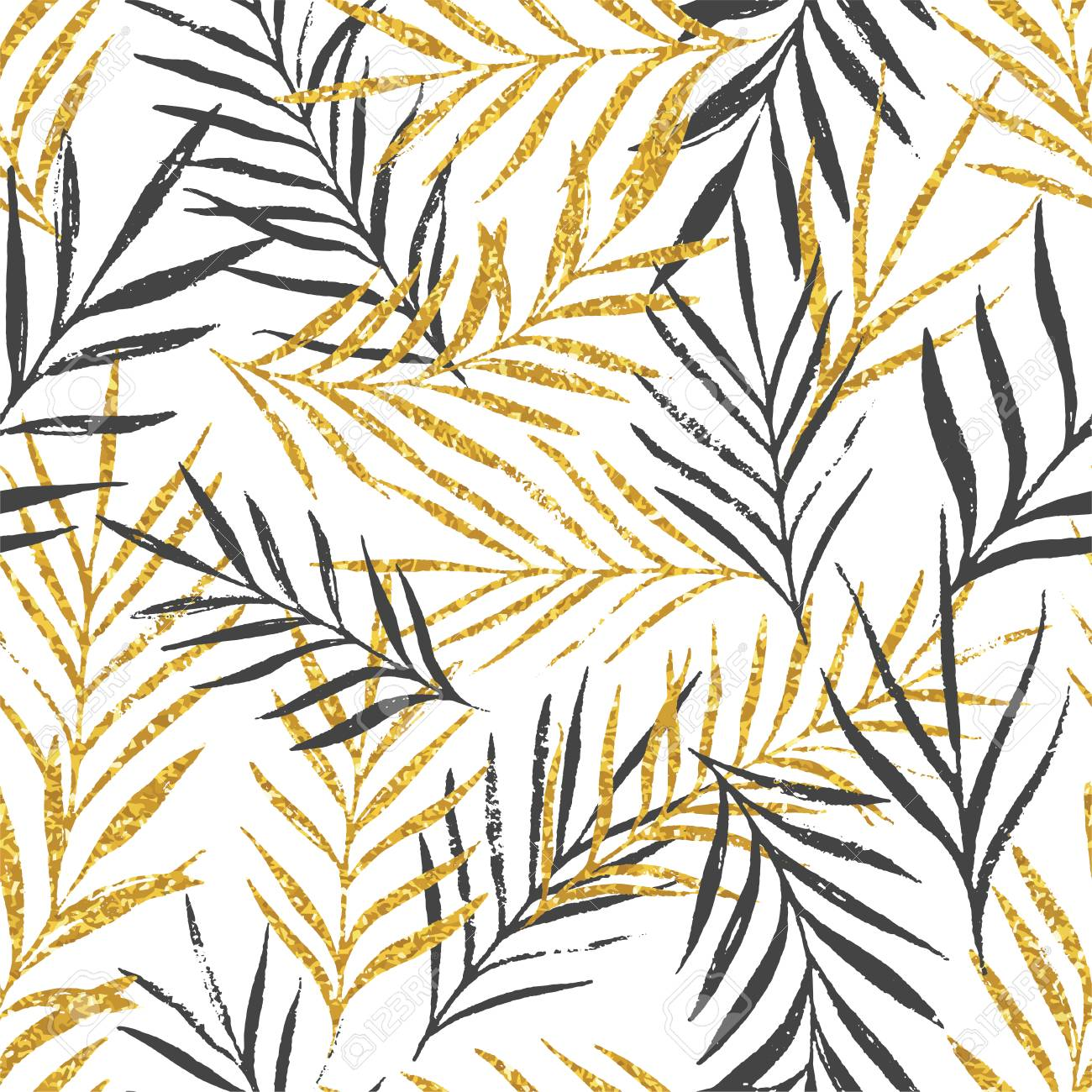 Abstract floral seamless pattern with palm leaves, trendy gold glitter texture. Stylish background, textile or wrapping paper design. Vector illustration - 98093500