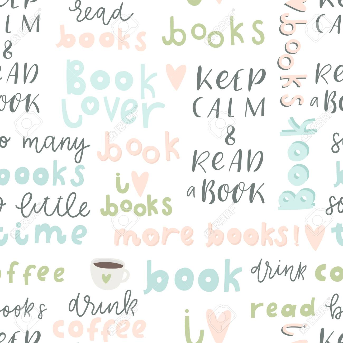 book lover seamless pattern hand drawn quotes and words about