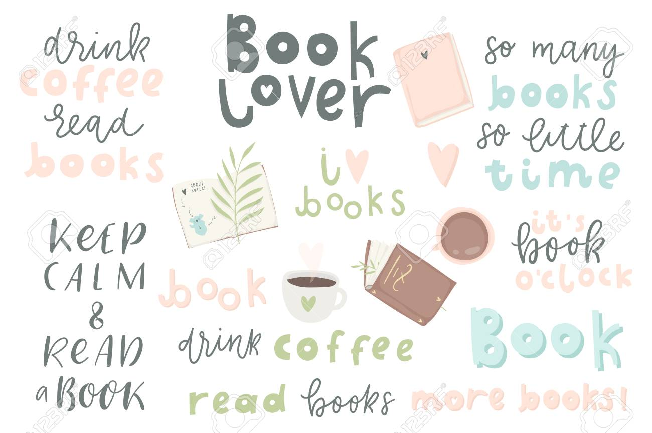 Book Lover Quotes | Book Lover Hand Drawn Quotes And Words About Books For Design