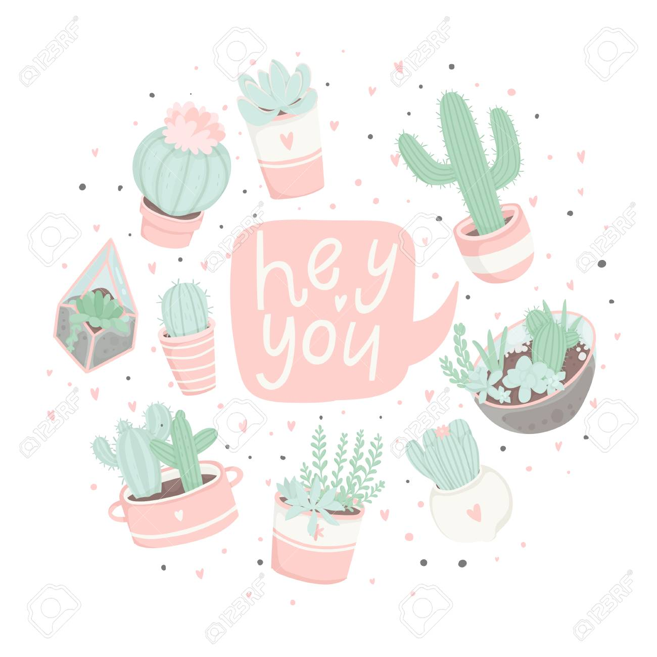 photograph regarding Cactus Printable known as Adorable cartoon well prepared-towards-retain the services of present postcards with succulents and..