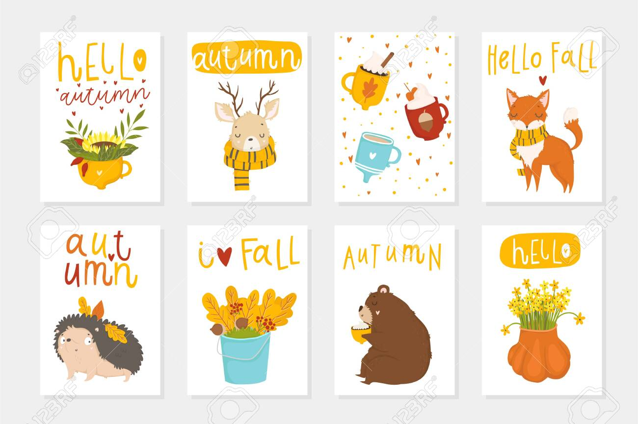 Set Of 8 Cute Ready-to-use Gift Cute Postcards With Leaves, Hearts,..  Royalty Free Cliparts, Vectors, And Stock Illustration. Image 125582820.