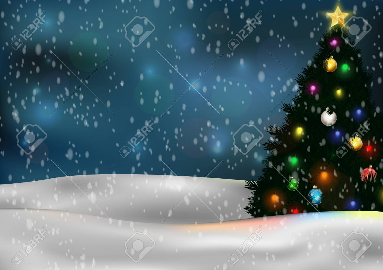 Cartoon Christmas tree and decorations on winter background