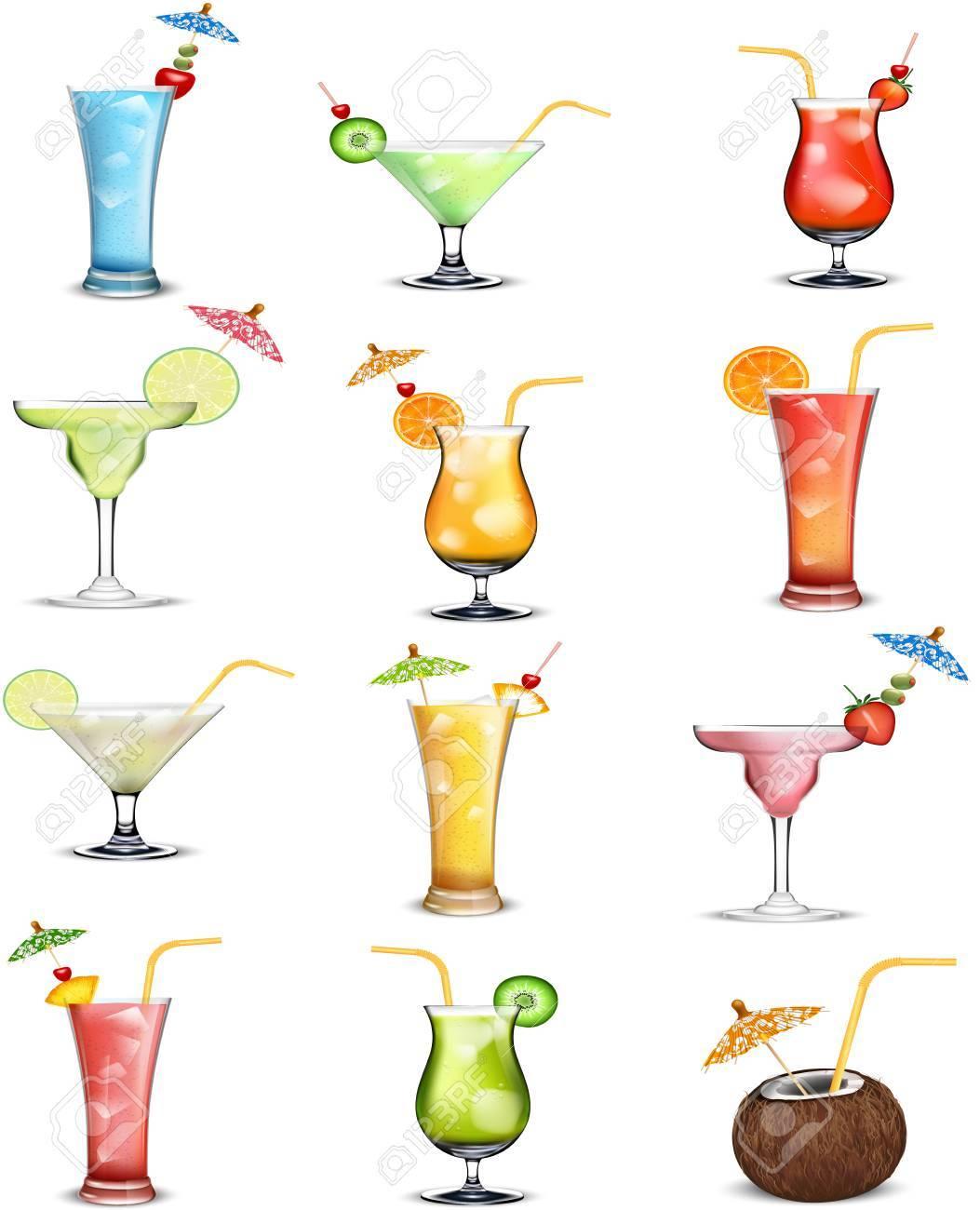 ドリンク フルーツ ジュース コレクションのイラスト ロイヤリティフリー