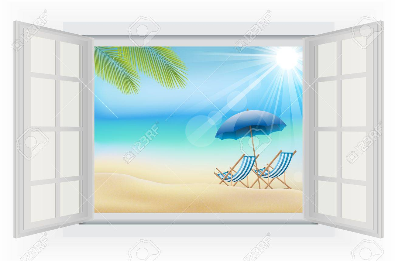Open window beach - Open Window In The Daytime With Summer Background On Beach Stock Photo 40586234